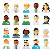 Practitioner young doctors man and woman icons. Medical staff.