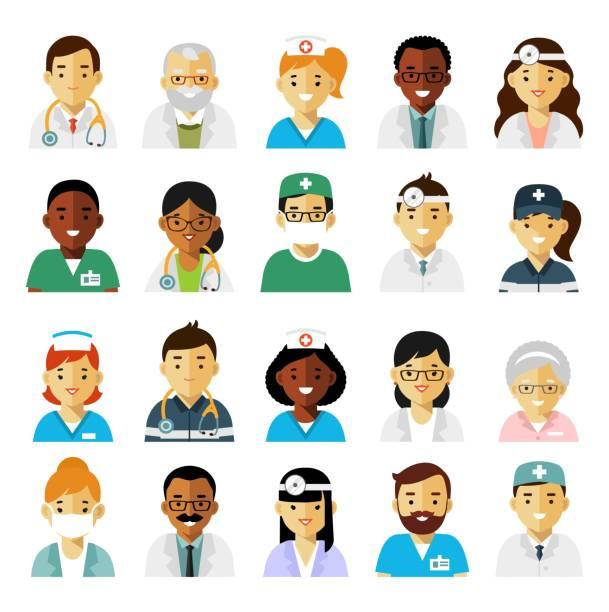 bildbanksillustrationer, clip art samt tecknat material och ikoner med läkemedel som med läkare och sjuksköterskor avatarer i platt stil isolerad på vit bakgrund - allmänläkare