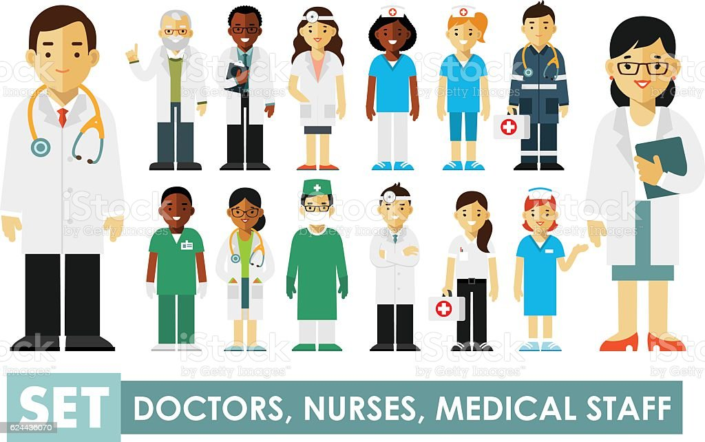 Medicine set with doctors and nurses vector art illustration