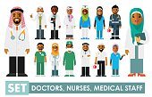 Practitioner young islam doctors man and woman in hijab standing. Medical staff.