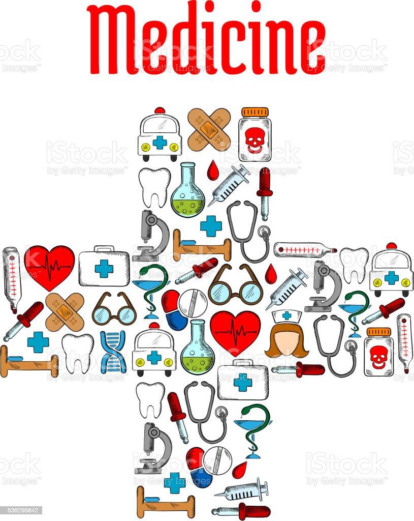 Medicine Symbols In A Shape Of Medical Cross Stock Vector Art More
