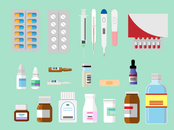 lekarstwa, strzykawka, termometr gorączka, test ciążowy i różne butelki leków. koncepcja medyczna i farmaceutyczna. ilustracja wektorowa - lekarstwo stock illustrations
