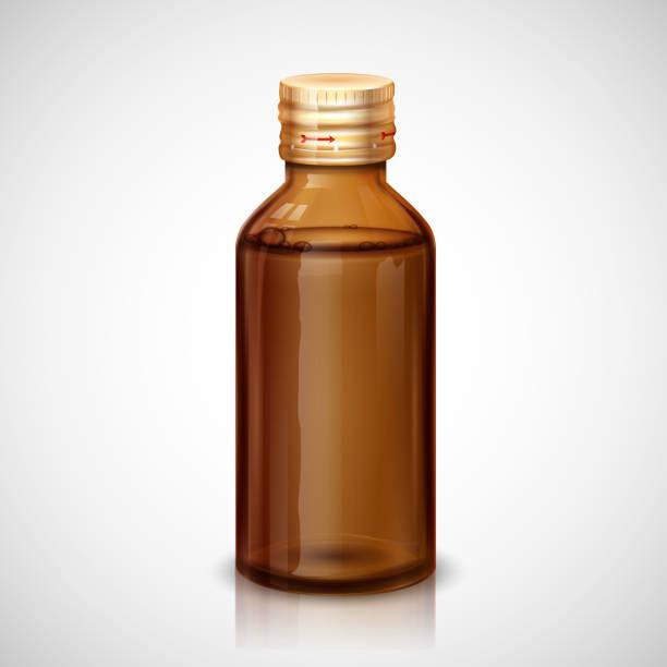stockillustraties, clipart, cartoons en iconen met medicine syrup bottle - siroop