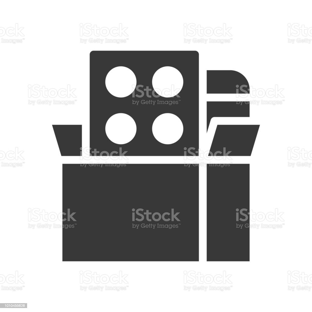 medicine tablet in box, healthcare and medical related solid icon vector art illustration
