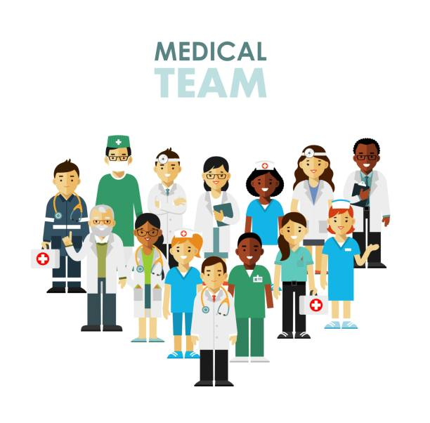 illustrazioni stock, clip art, cartoni animati e icone di tendenza di medicine team concept with doctors and nurses in flat style isolated on hospital background - personale medico