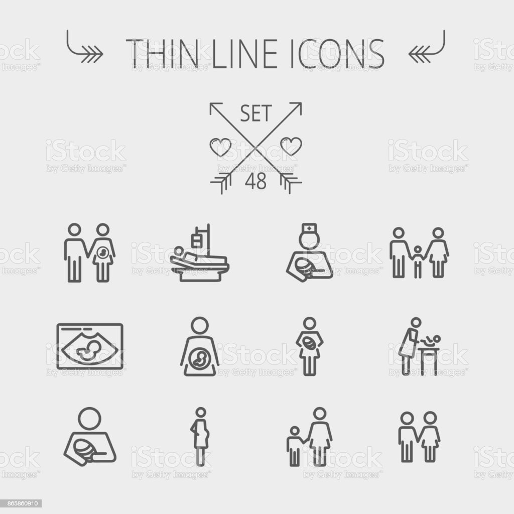 Medicine thin line icon set vector art illustration
