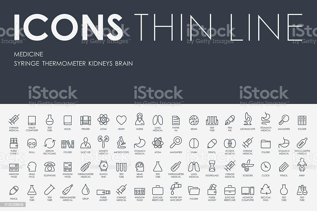 medicine Thin Line Icons vector art illustration