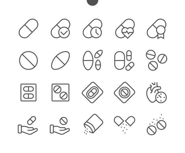 illustrazioni stock, clip art, cartoni animati e icone di tendenza di medicine ui pixel perfect well-crafted vector thin line icons 48x48 ready for 24x24 grid for web graphics and apps with editable stroke. simple minimal pictogram - dose