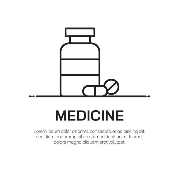 illustrazioni stock, clip art, cartoni animati e icone di tendenza di medicine vector line icon - simple thin line icon, premium quality design element - dose