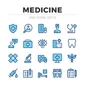 Medicine vector line icons set. Thin line design. Modern outline graphic elements collection, simple stroke symbols. Medical icons
