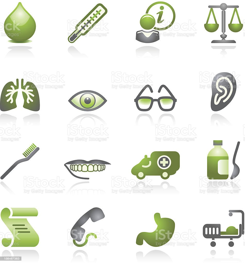 Medicine web icons. Gray and green series. royalty-free stock vector art