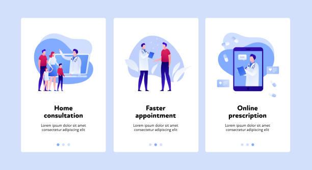 medicine wen banner progress steps template set. telemedicine concept. - telemedicine stock illustrations