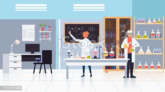 Medicine workers scientists making test. Science medicine pharmacy concept. Vector design flat graphic cartoon