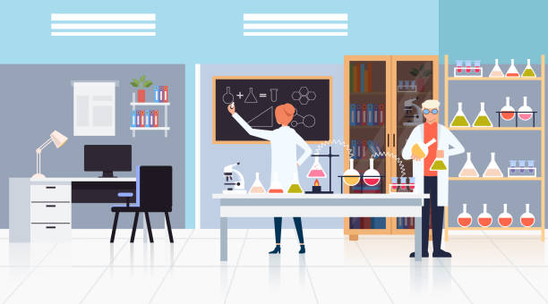 ilustrações de stock, clip art, desenhos animados e ícones de medicine workers scientists making test. science medicine pharmacy concept. vector design flat graphic cartoon illustration - laboratory