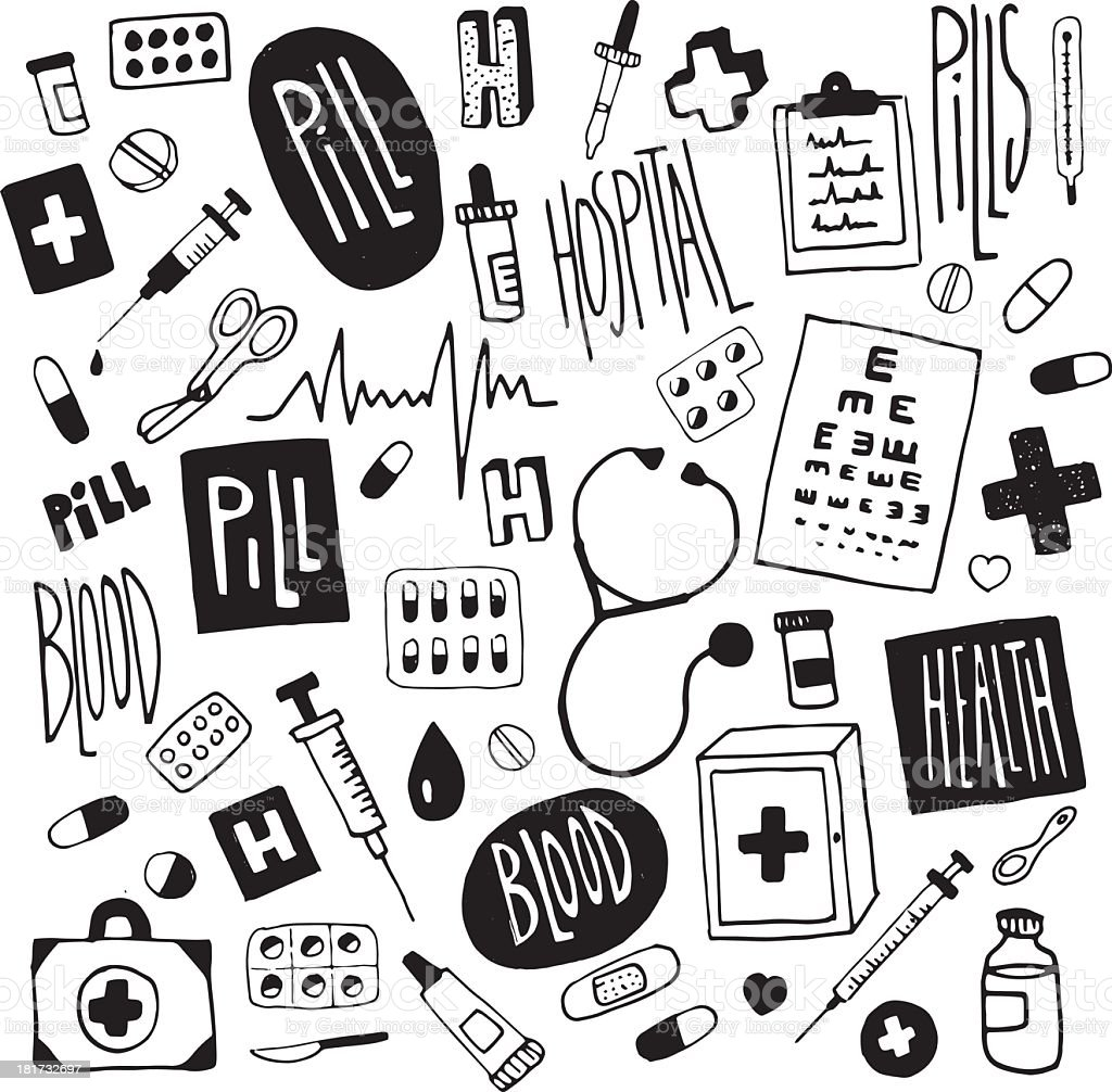 Medicine-doodles illustration royalty-free stock vector art