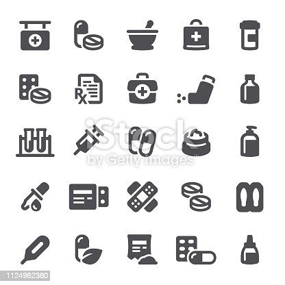 Healthcare and medicine, pharmacy, pills, icons, icon, medical kit, RX