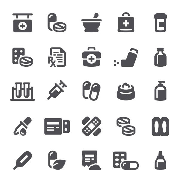 Medicines Icons Healthcare and medicine, pharmacy, pills, icons, icon, medical kit, RX pharmacy stock illustrations