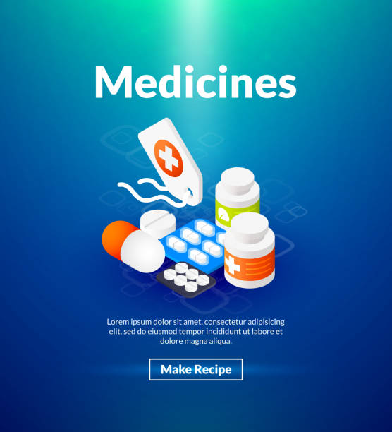 illustrazioni stock, clip art, cartoni animati e icone di tendenza di medicines poster of isometric color design - antidolorifico