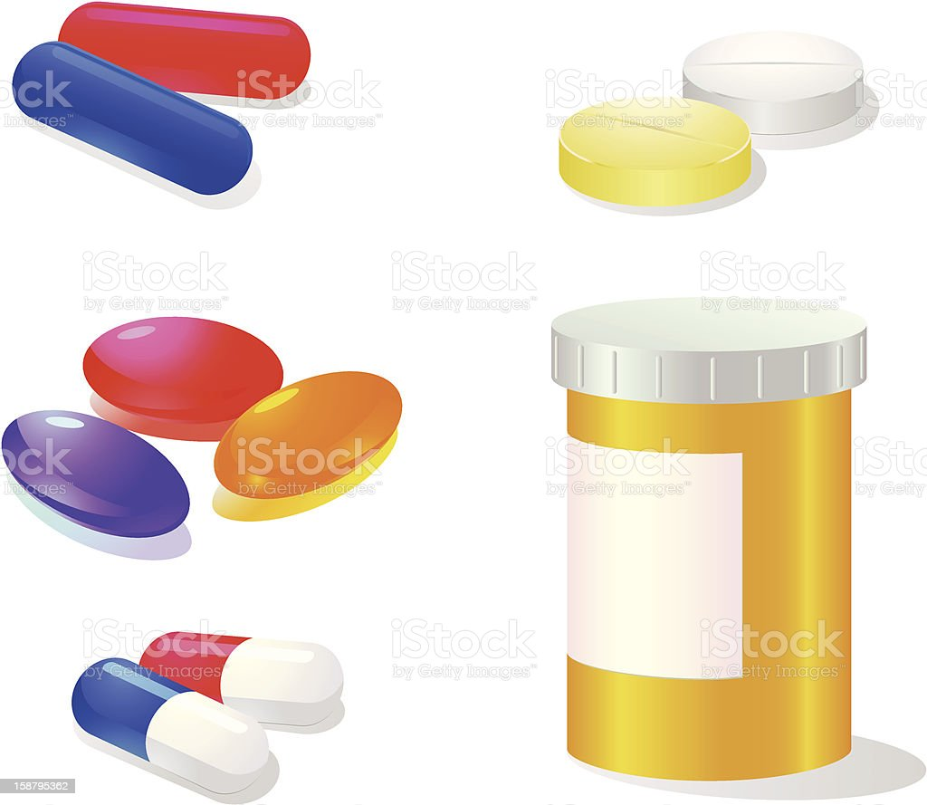 Medicines vector icons vector art illustration