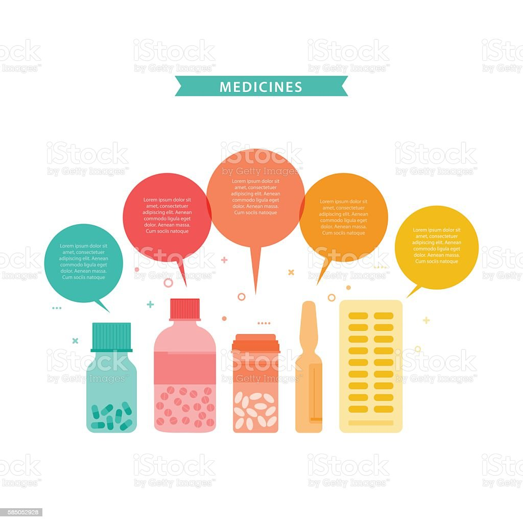 Medicines. Vector illustration with different drugs and doctor's stuff. vector art illustration