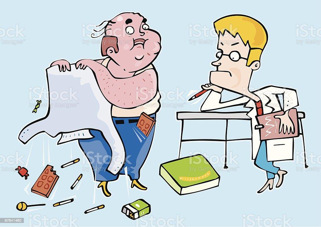 Medico preocupado observando a un paciente obeso royalty-free medico preocupado observando a un paciente obeso stock vector art & more images of accidents and disasters