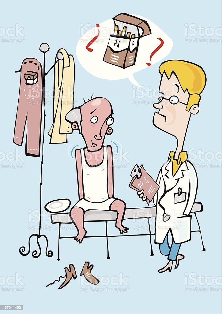Medico preocupado por la adiccion al tabaco de su paciente vector art illustration