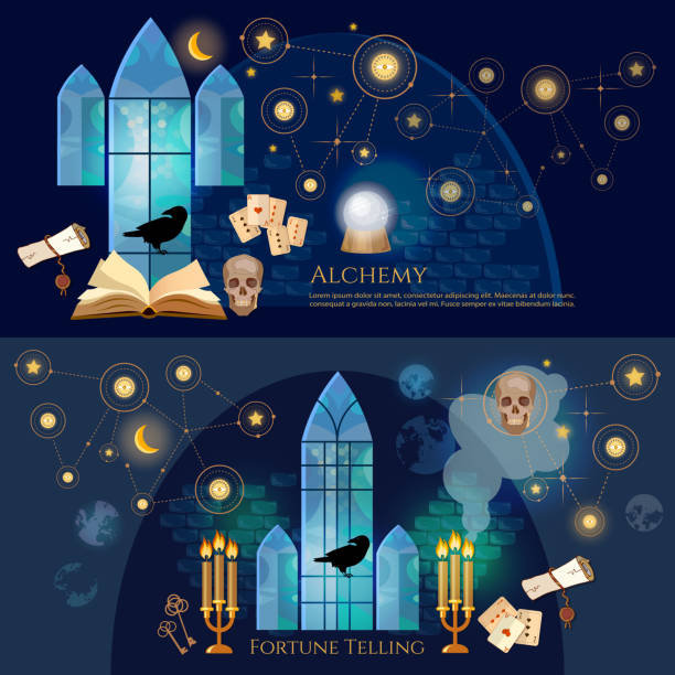 Medieval alchemical laboratory banner. Open book of spells, skull, occult and esoteric. Fortune telling, crystal ball, medieval castle wizard. Vintage key magic objects and scrolls alchemy concept vector art illustration