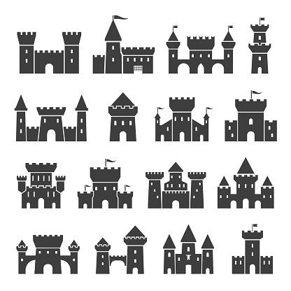 Medieval ancient castle icon set, black silhouette