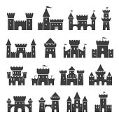 Medieval ancient castle icon set, black silhouette. Fantasy or architecture fortified old residence. Vector illustration isolated on white background