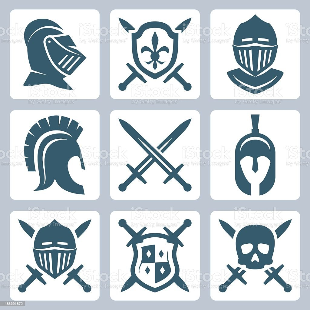 Medieval armor and swords icon set vector art illustration