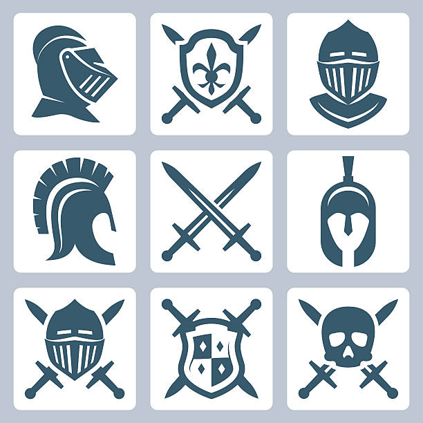 medieval armor and swords icon set - knight in shining armor stock illustrations, clip art, cartoons, & icons