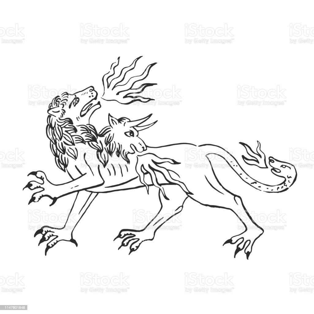 Art Medieval Chimere Feu Respiration Lion Avec Tete De Chevre Et Serpent Vecteurs Libres De Droits Et Plus D Images Vectorielles De Antique Istock