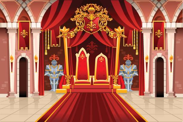 medieval artwork with royal armors - castle stock illustrations