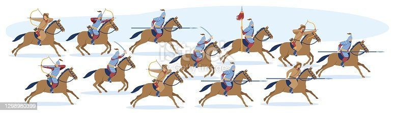 istock Medieval Asian Mongol or Turkic warrior 1298980399