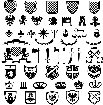 Medieval badges. Heraldic emblems collection with silhouettes of ribbons knight weapons lions crowns swords vector set