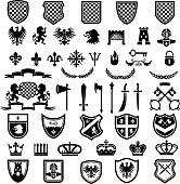 Medieval badges. Heraldic emblems collection with silhouettes of ribbons knight weapons lions crowns swords vector set. Badge and medieval, shield heraldic royal, insignia heraldry illustration