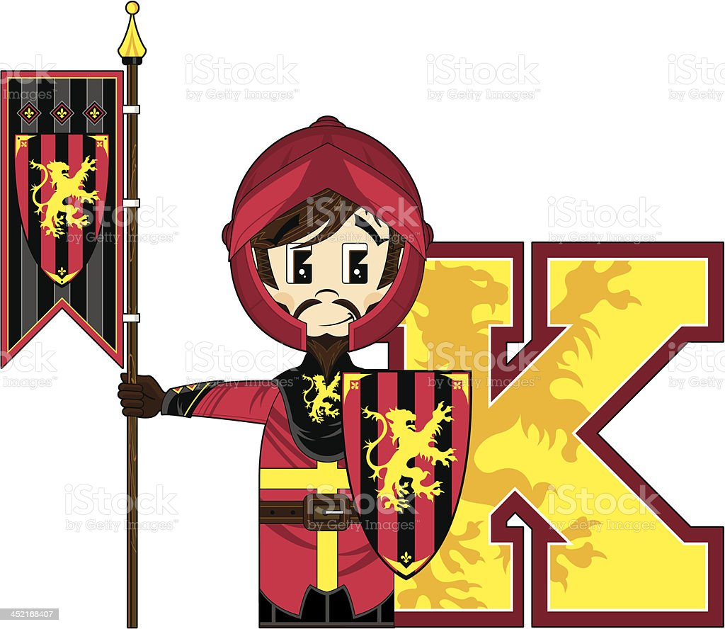 Medieval Banner Knight Learning Letter K royalty-free stock vector art