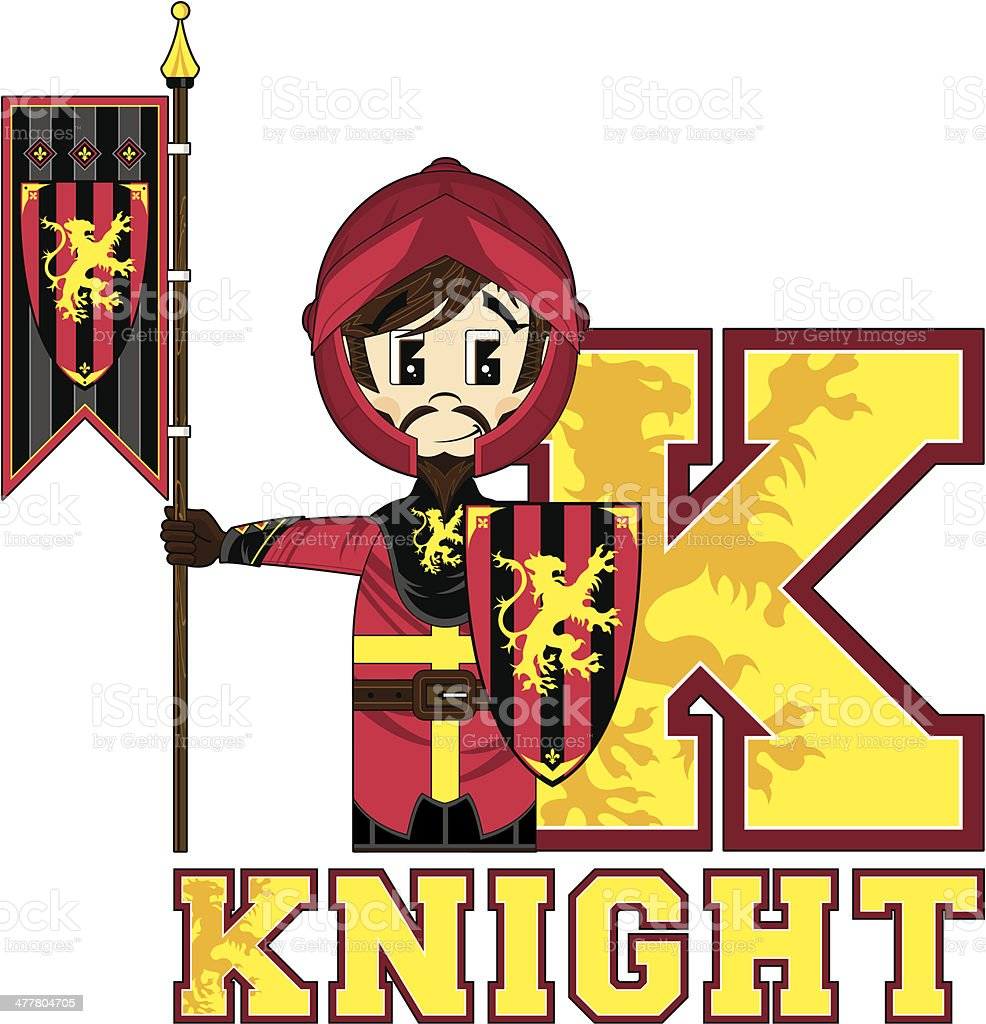 Medieval Banner Knight Learning Letter K royalty-free stock vector art
