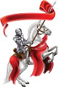 Medieval Banner Knight on Horse