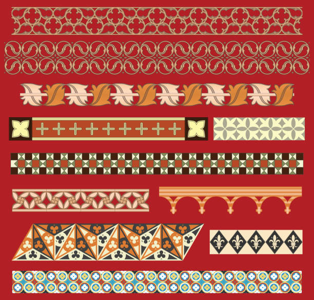 Medieval border ornaments Set of typical gothic decorations. cusp stock illustrations