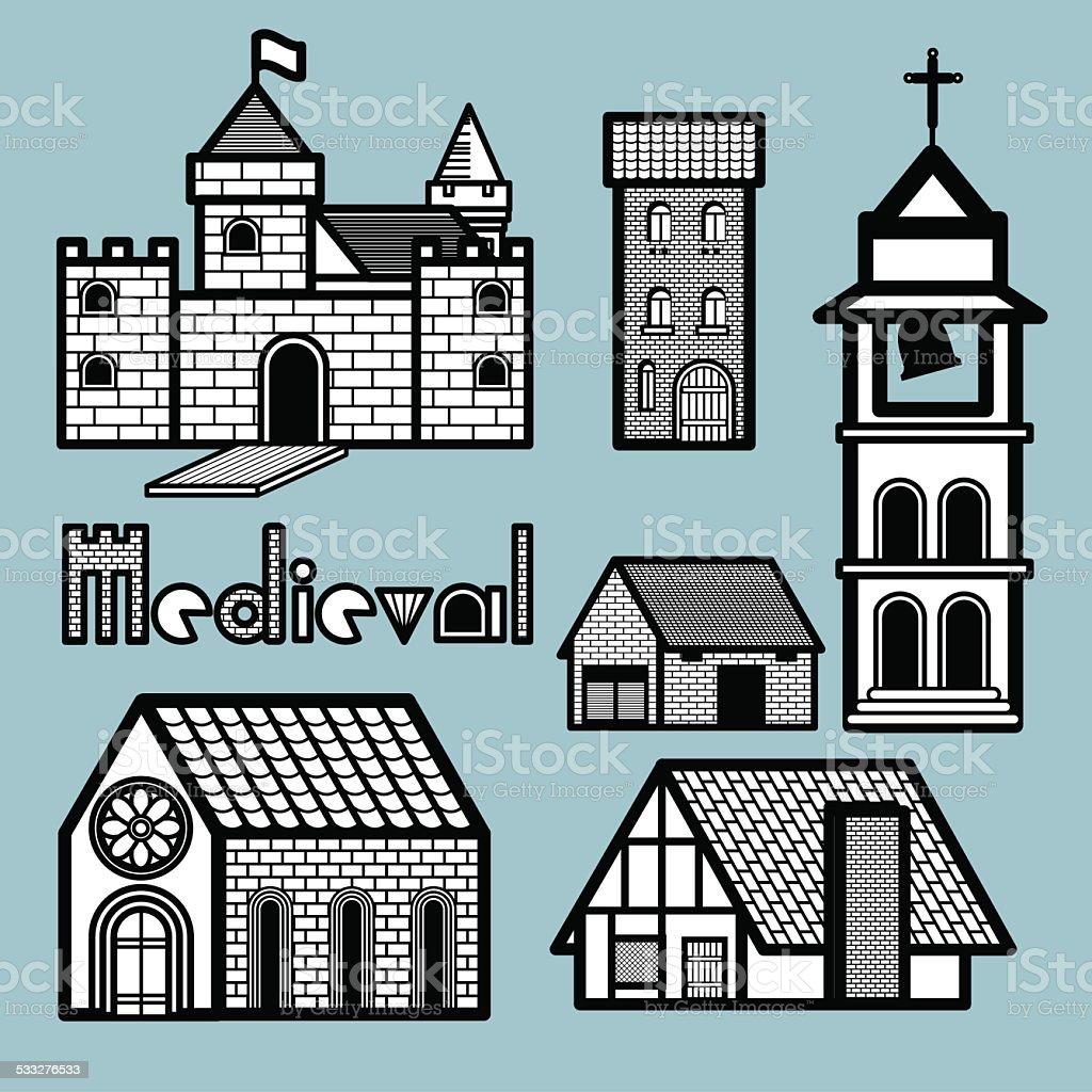 medieval building vector art illustration