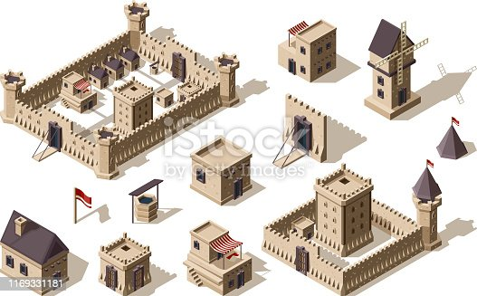 Medieval buildings. Ancient architectural objects village and castles vector isometric for games. Illustration medieval town and city building, wall and fortress