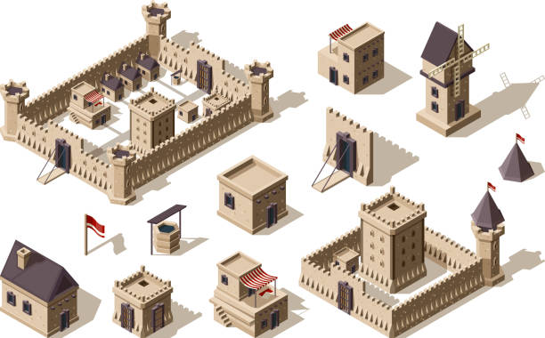 ilustrações de stock, clip art, desenhos animados e ícones de medieval buildings. ancient architectural objects village and castles vector isometric for games - castle