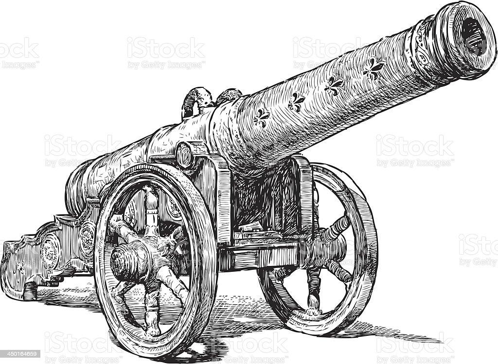 medieval cannon vector art illustration