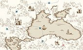 Medieval cartography, old pirate treasure map, vector illustration