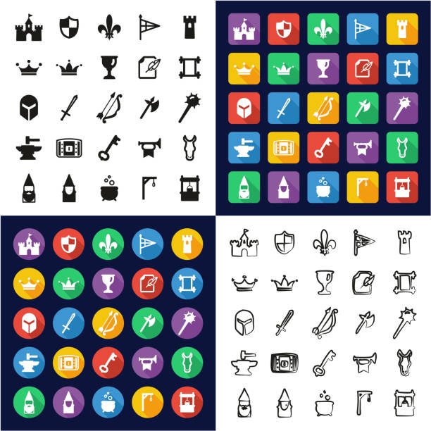 Medieval Castle All in One Icons Black & White Color Flat Design Freehand Set vector art illustration