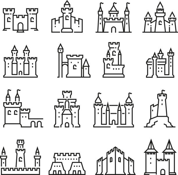 medieval castle and ancient tower fortress line vector icons - castle stock illustrations