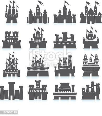 Medieval Castle black and white royalty free vector interface icon set. This editable vector file features black interface icons on white Background. The interface icons are organized in rows and include sixteen variation of castles and fortress. The castle has watch towers and waving flags. Castle design vary in styles and cultural heritage.