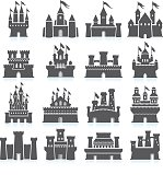 Medieval Castle and fortress royalty free vector icon set