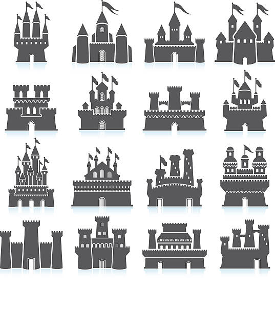 medieval castle and fortress royalty free vector icon set - castle stock illustrations
